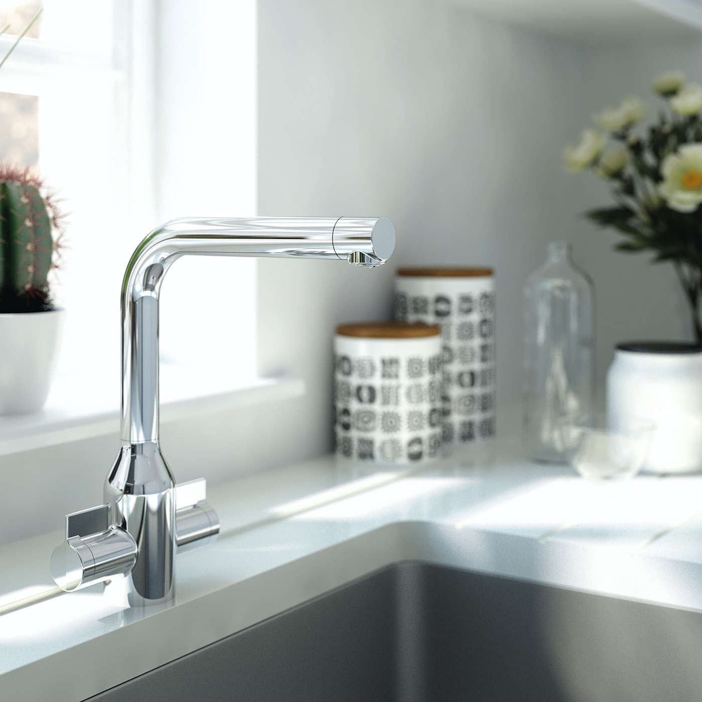 Bristan Wine EasyFit Mono Kitchen Sink Mixer Tap Dual Handle - Chrome
