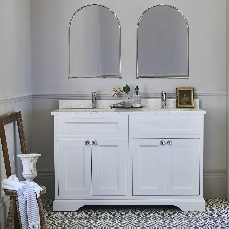 Burlington 130 4-Door Vanity Unit and Carrara White Basin 1300mm Wide Matt White - 0 Tap Hole