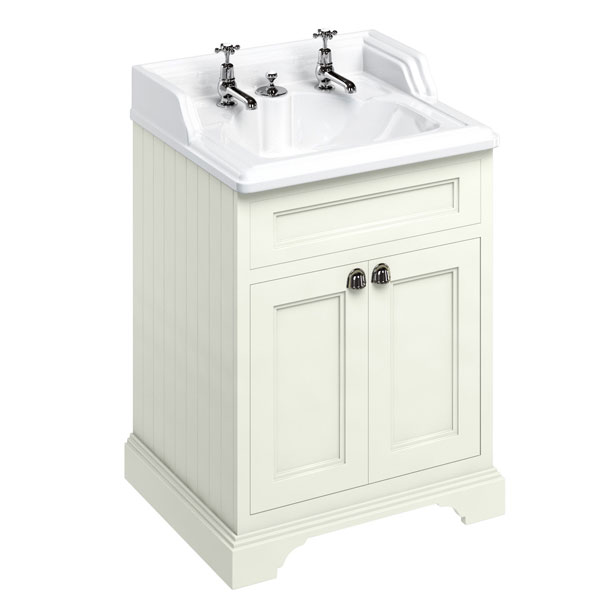 Burlington 65 2-Door Vanity Unit and Integrated Waste Basin 650mm Wide Sand - 2 Tap Hole