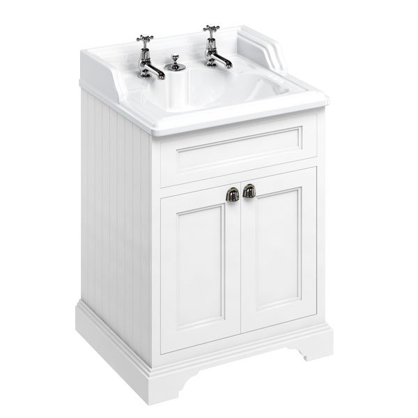 Burlington 65 2-Door Vanity Unit and Basin 650mm Wide Matt White - 2 Tap Hole