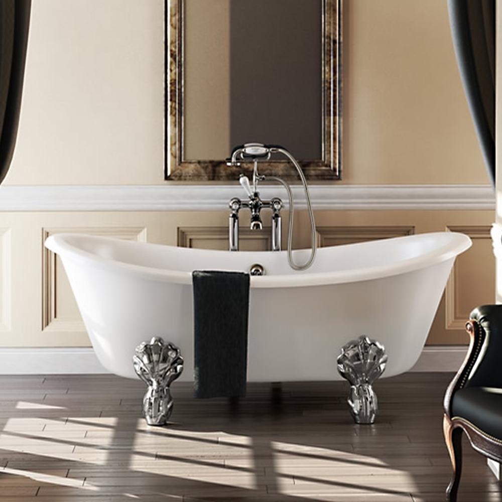 Burlington Bateau Traditional Roll Top Freestanding Slipper Bath 1640mm x 700mm - Excluding Feet-1