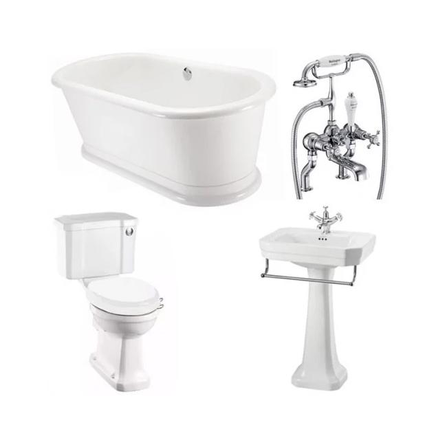 Burlington Complete Bathroom Suite, 1800mm x 850mm Round Freestanding Bath-4