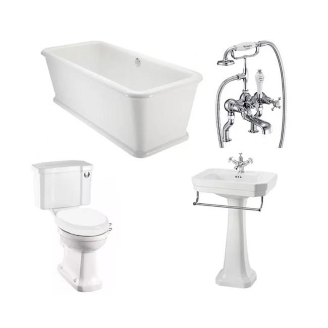 Burlington Complete Bathroom Suite, 1800mm x 850mm Rectangular Freestanding Bath-5