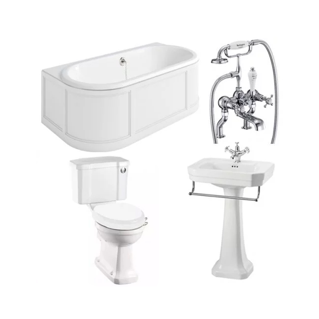 Burlington Complete Bathroom Suite, 1800mm x 950mm Back to Wall Bath, Matt White-5