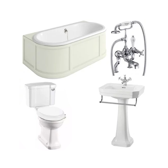 Burlington Complete Bathroom Suite, 1800mm x 950mm Back to Wall Bath, Sand-5