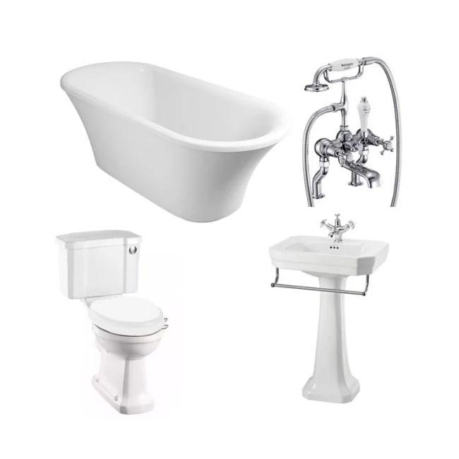 Burlington Complete Bathroom Suite, 1700mm x 750mm Freestanding Bath, White-4