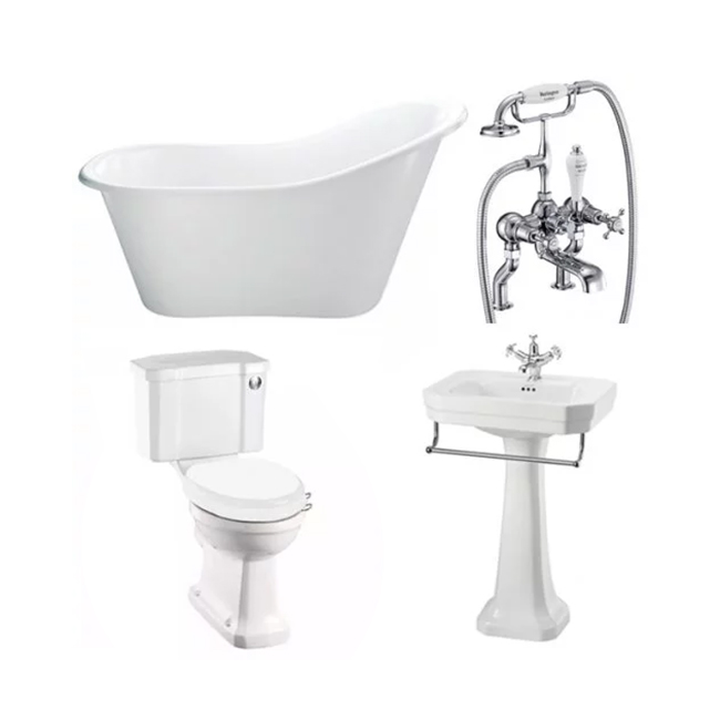 Burlington Complete Bathroom Suite, 1700mm x 740mm Freestanding Bath, White-5