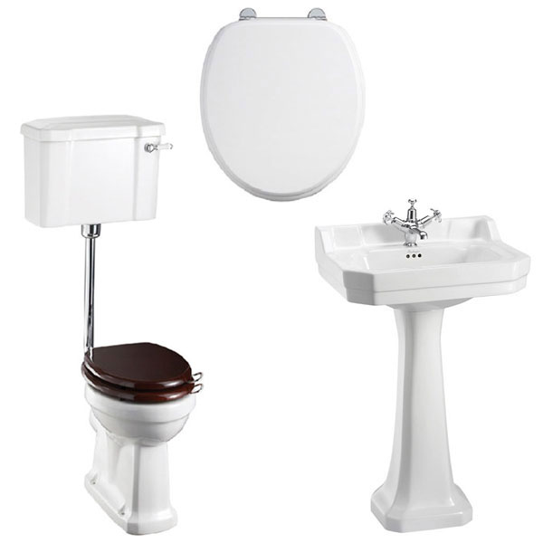 Burlington Bathroom Suite, Standard Low Level Toilet, Lever Cistern