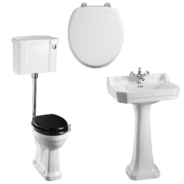 Burlington Bathroom Suite, Standard Low Level Toilet, Push Button Cistern