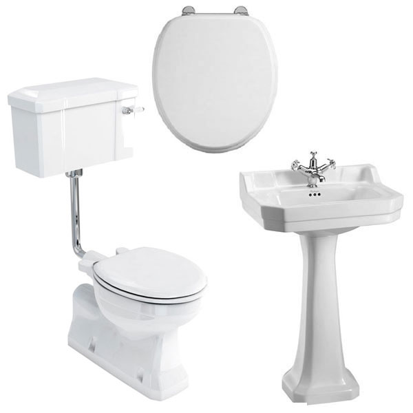 Burlington Bathroom Suite, S-Trap Low Level Toilet, Lever Cistern-2