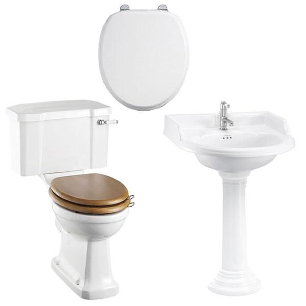 Burlington Bathroom Suite, 650mm Wide Classic Round Basin, 2 Tap Hole-1