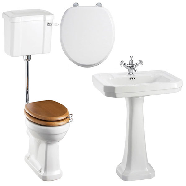 Burlington Bathroom Suite, 610mm Wide Victorian Basin, 1 Tap Hole-1