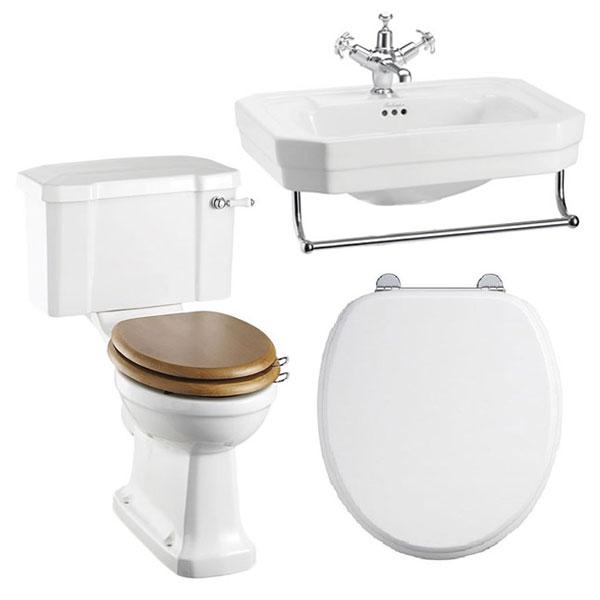 Burlington Bathroom Suite, 560mm Wide Basin with Towel Rail, 1 Tap Hole-0