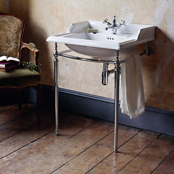 Burlington Classic Invisible Overflow Basin with Chrome Wash Stand, 650mm Wide, 2 Tap Hole-0
