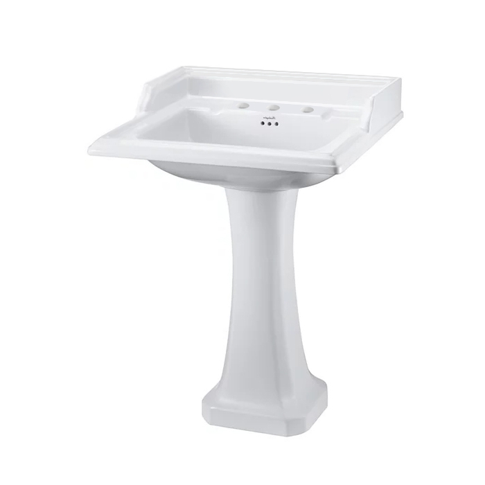Burlington Classic Basin with Full Pedestal, 650mm Wide, 3 Tap Hole