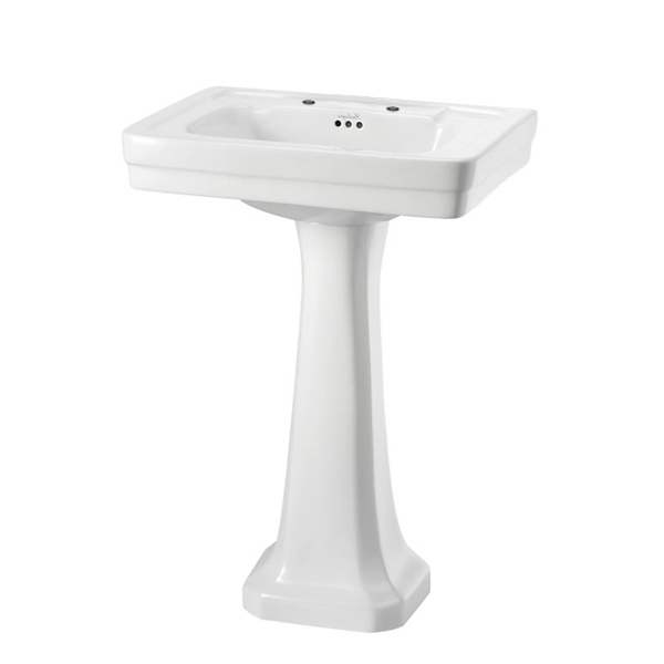 Burlington Contemporary Basin with Regal Full Pedestal, 580mm Wide, 2 Tap Hole