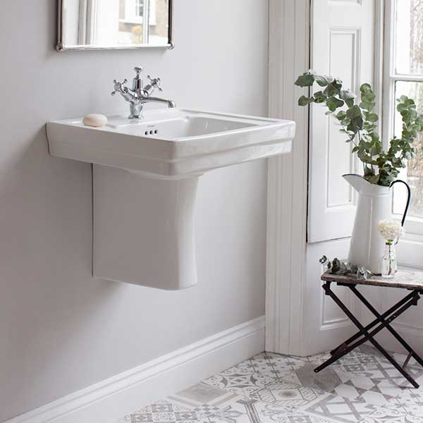 Burlington Contemporary Basin with Semi Pedestal, 580mm Wide, 3 Tap Hole