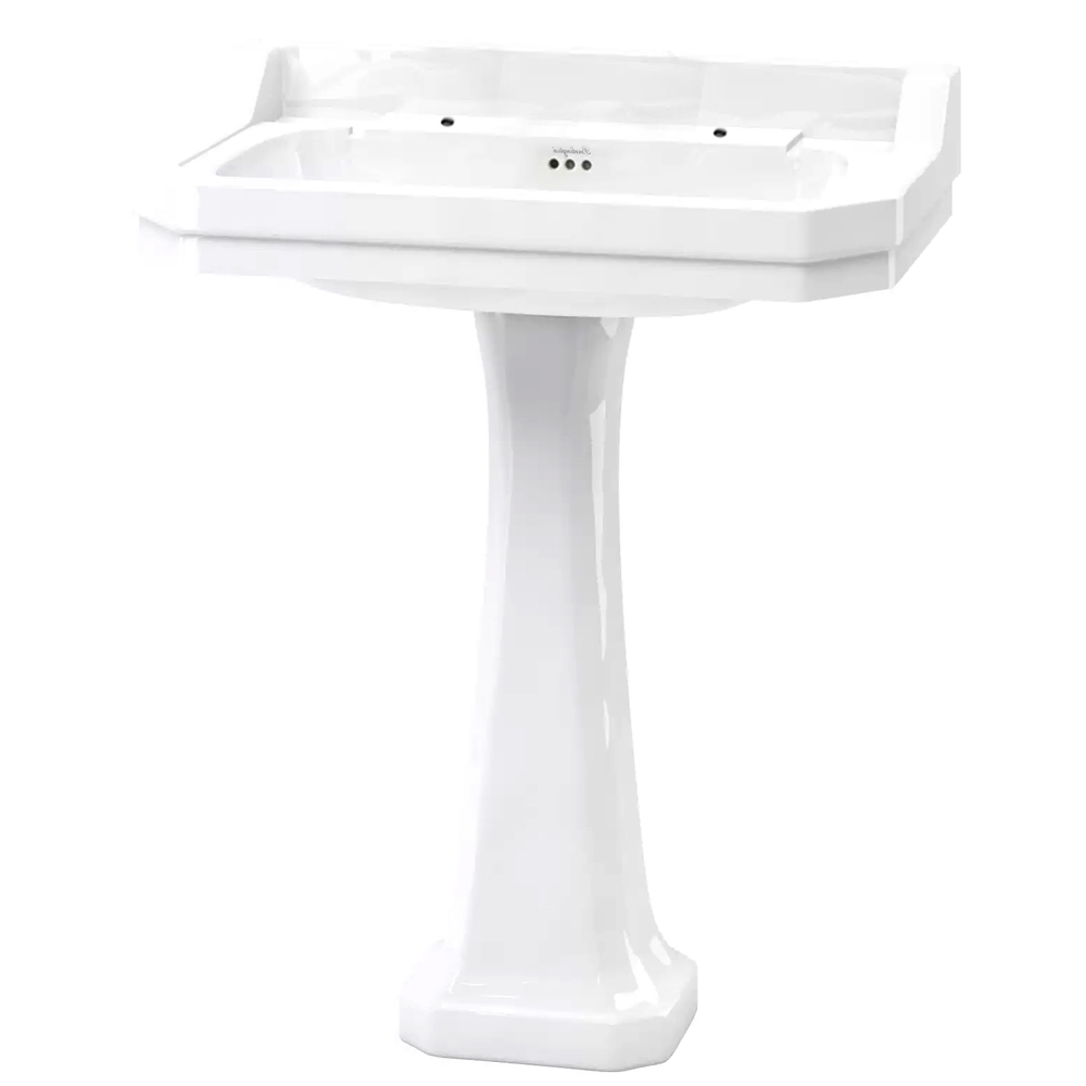 Burlington Edwardian Basin with Full Pedestal, 800mm Wide, 2 Tap Hole