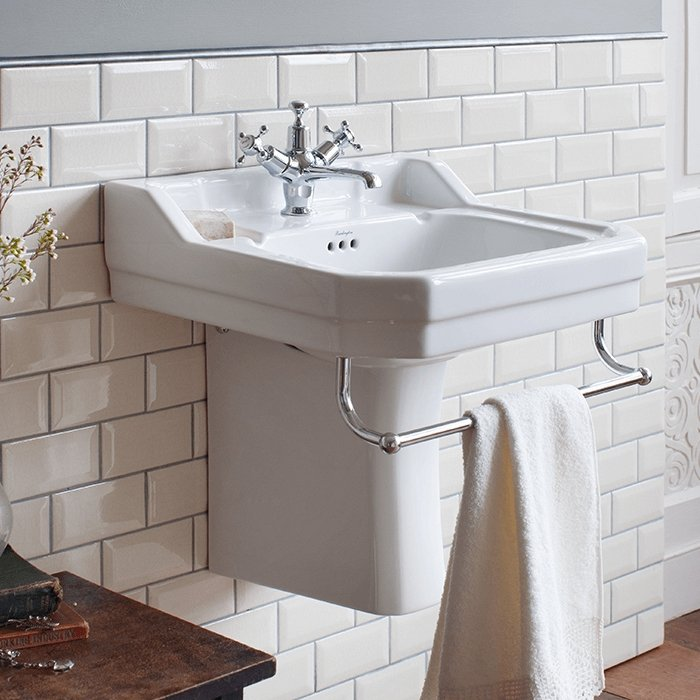 Burlington Edwardian Basin with Semi Pedestal Excluding Towel Bar 560mm Wide, 1 Tap Hole