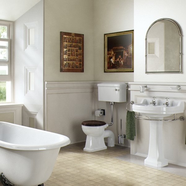 Burlington Edwardian Basin with Full Pedestal, 560mm Wide, 2 Tap Hole