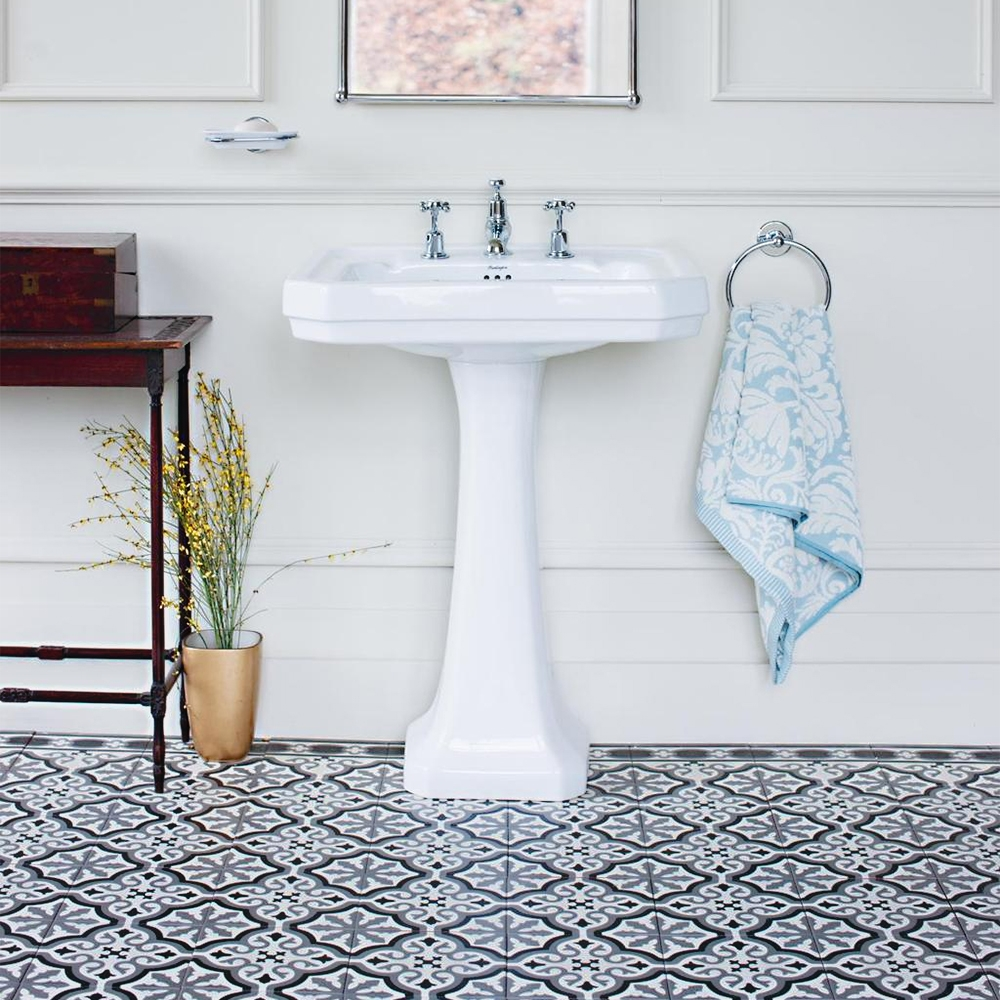Burlington Edwardian Basin with Full Pedestal, 610mm Wide, 3 Tap Hole