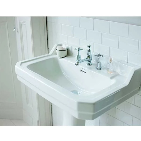 Burlington Edwardian Basin with Semi Pedestal, 610mm Wide, 3 Tap Hole-0