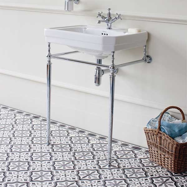 Burlington Edwardian Basin with Chrome Wash Stand, 610mm Wide, 3 Tap Hole-0