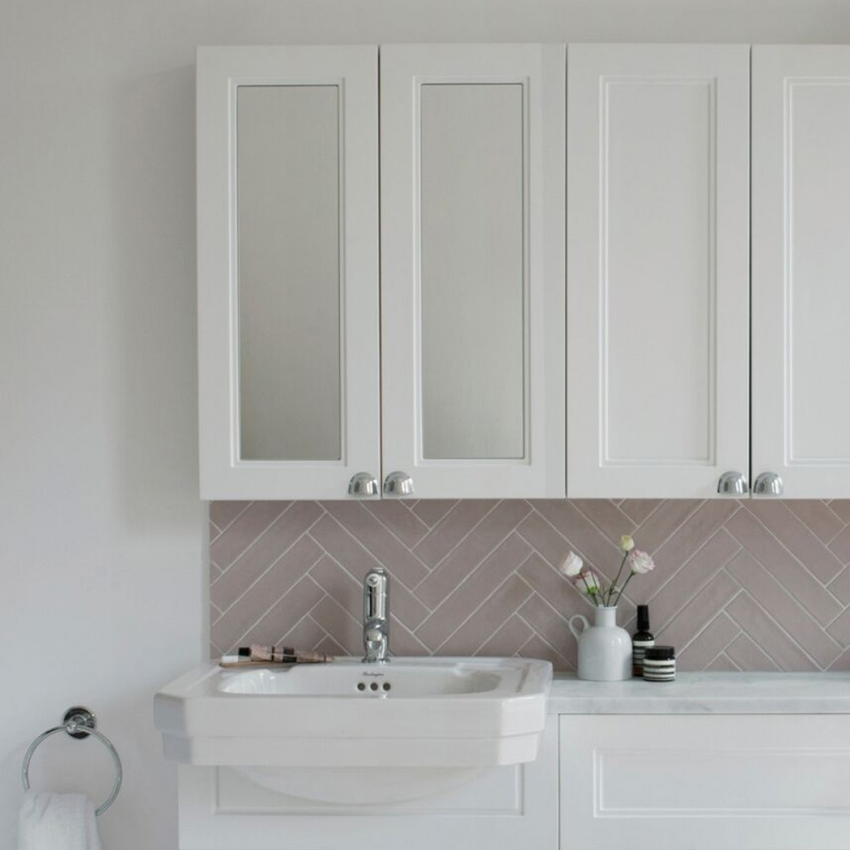Burlington 60 Fitted 2-Door Mirrored Wall Cabinet Unit, 600mm Wide, Matt White