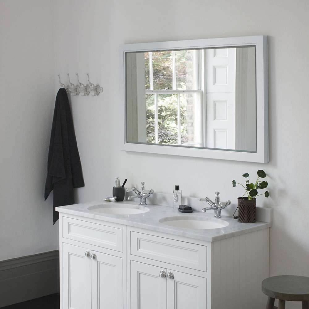 Burlington 120 Fitted Framed LED Bathroom Mirror, 750mm High x 1200mm Wide, Matt White
