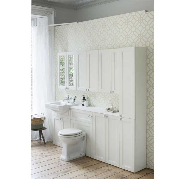 Burlington Fitted Semi-Recessed Vanity Unit and 1TH Basin, 600mm Wide, Sand-0