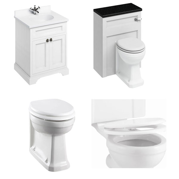 Burlington Furniture Bathroom Suite 670mm Wide Vanity Unit Matt White - 0 Tap Hole