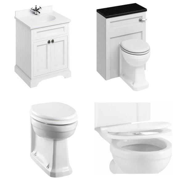 Burlington Furniture Bathroom Suite 670mm Wide Vanity Unit Matt White - 0 Tap Hole-2