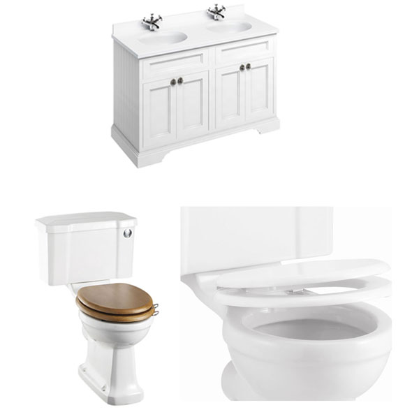 Burlington Furniture Bathroom Suite 1300mm Wide Vanity Unit Matt White - 0 Tap Hole