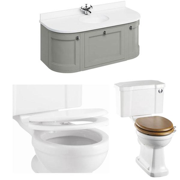 Burlington Furniture Bathroom Suite 1340mm Wide Vanity Unit Olive - 0 Tap Hole-1