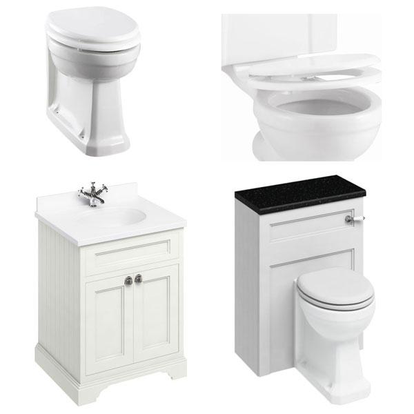 Burlington Furniture Bathroom Suite 670mm Wide Vanity Unit Sand - 0 Tap Hole-2