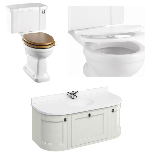 Burlington Furniture Bathroom Suite 1340mm Wide Vanity Unit Sand - 0 Tap Hole-1