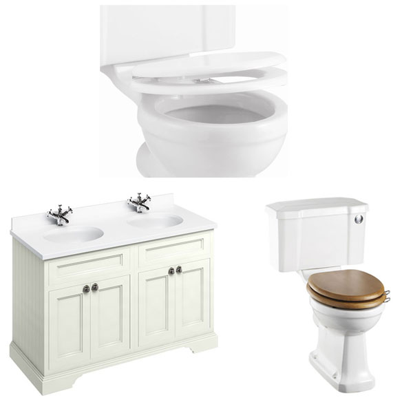 Burlington Furniture Bathroom Suite 1300mm Wide Vanity Unit Sand - 0 Tap Hole-2