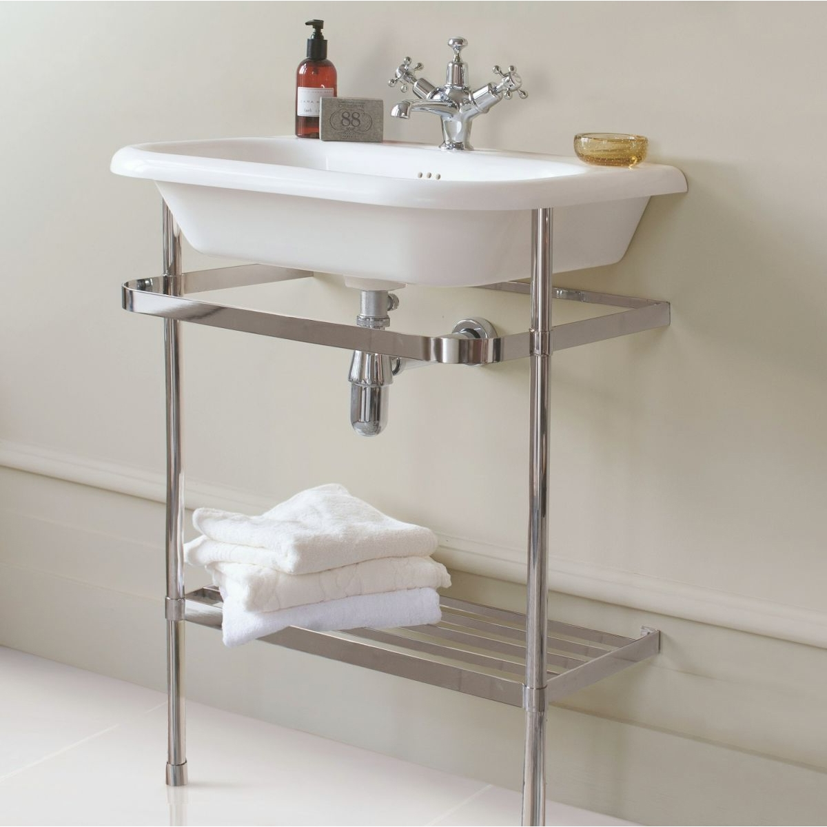 Burlington Traditional Natural Stone Basin and Wash Stand, 650mm Wide, 0 Tap Hole