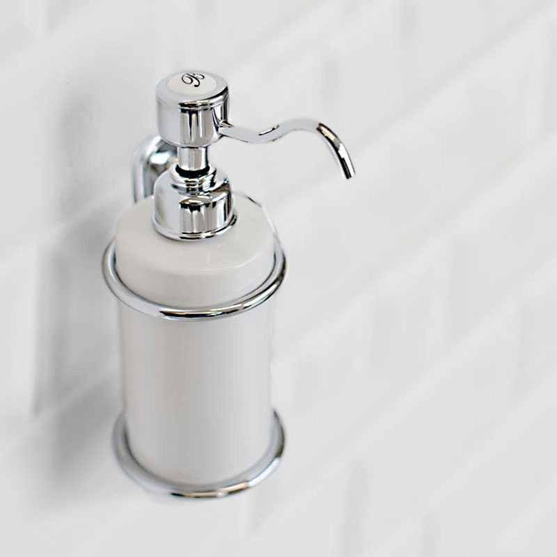 Burlington Traditional Single Soap Dispenser, Wall Mounted, White/Chrome-0
