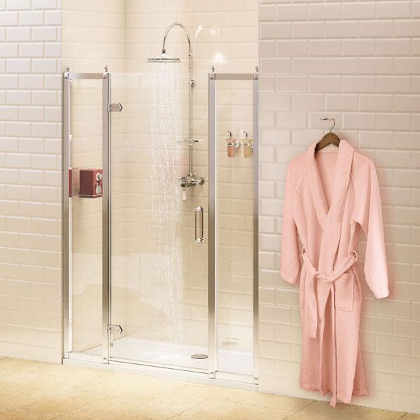 Burlington Traditional Inline Hinged Shower Door, 1100mm Wide, 8mm Glass-0