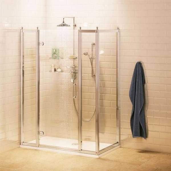 Burlington Traditional Inline Hinged Shower Door, 1600mm Wide, 8mm Glass