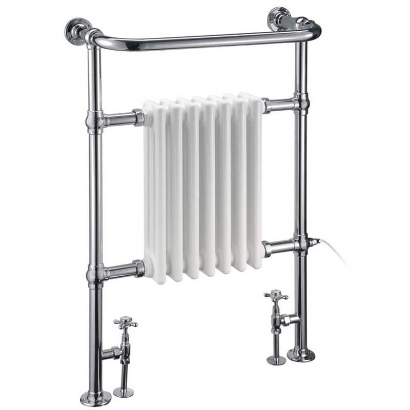 Burlington Trafalgar Radiator Towel Rail with Valves and Heating Element 950mm H x 640mm W - Chrome