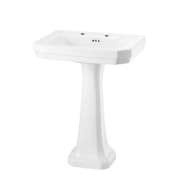 Burlington Victorian Basin with Regal Full Pedestal, 610mm Wide, 2 Tap Hole