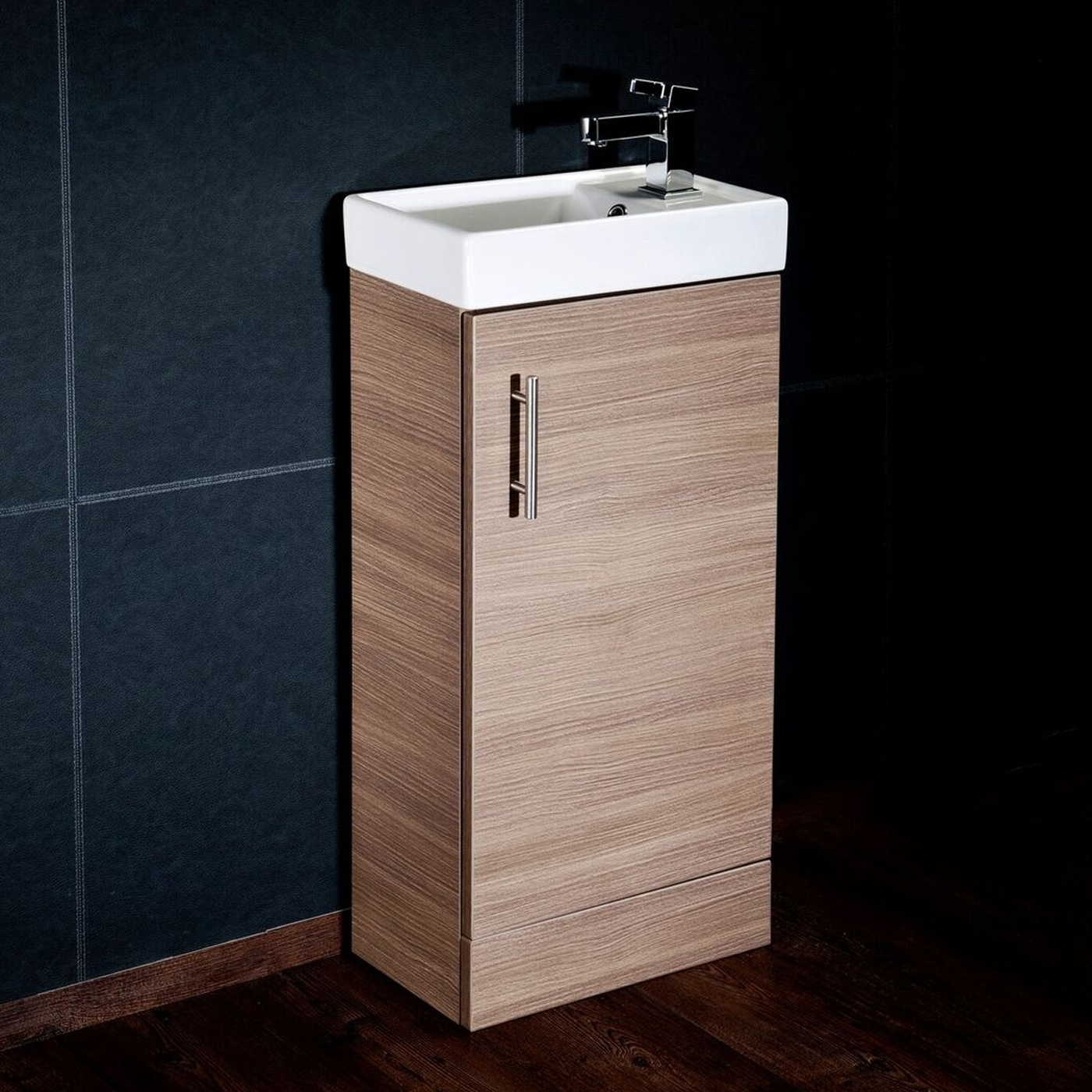 Cali Cube Vanity Unit with Basin - 400mm Wide - Medium Oak