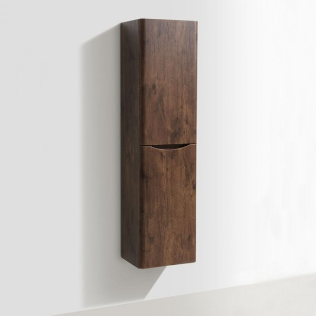 Cali Bali Wall Mounted Tall Storage Cabinet - 400mm Wide - Chestnut-1