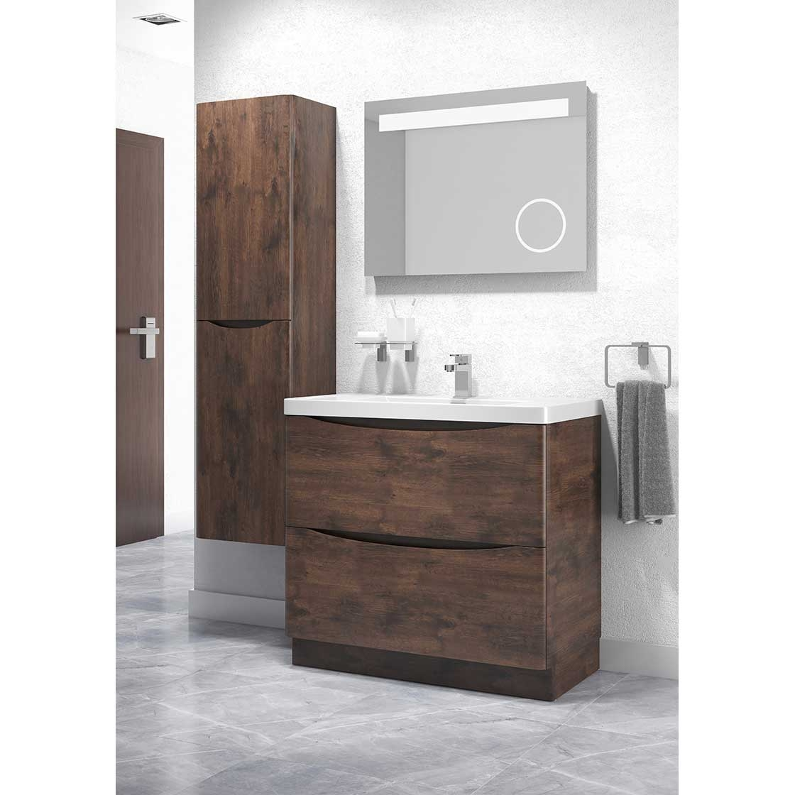 Cali Bali Wall Mounted Tall Storage Cabinet - 400mm Wide - Chestnut