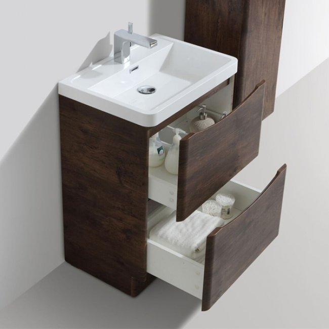 Cali Bali 2-Drawer Floor Standing Vanity Unit with Basin - 600mm Wide - Chestnut