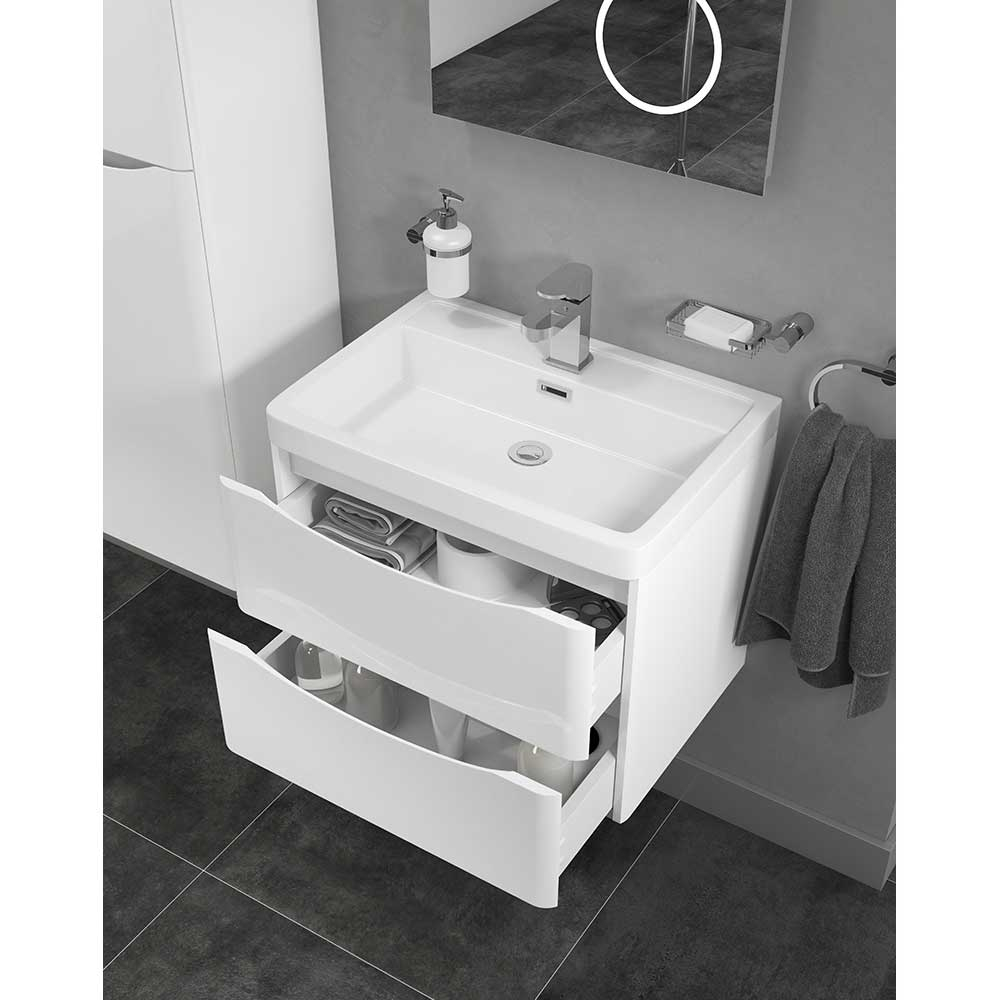 Cali Bali 2-Drawers Wall Mounted Vanity Unit with Basin - 600mm Wide - Gloss White