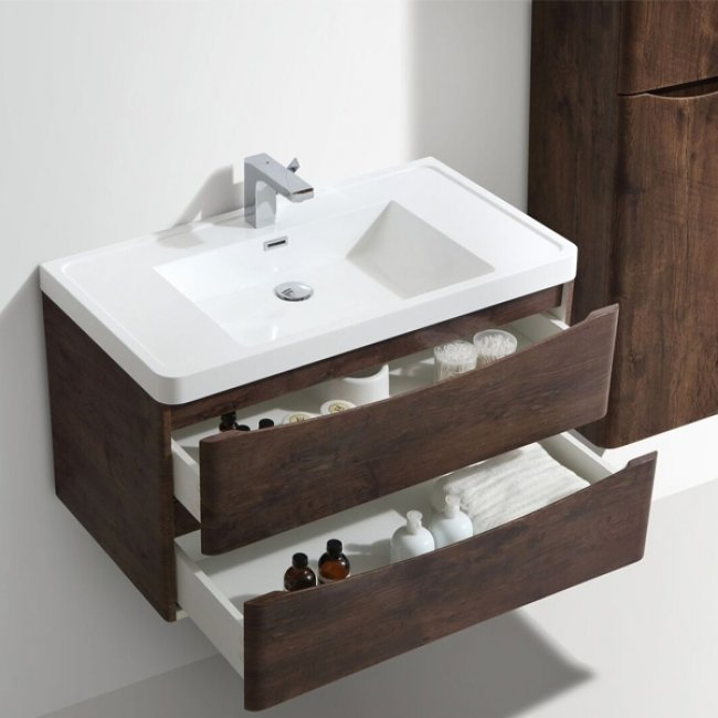 Cali Bali 2-Drawer Wall Mounted Vanity Unit with Basin - 900mm Wide - Chestnut-1