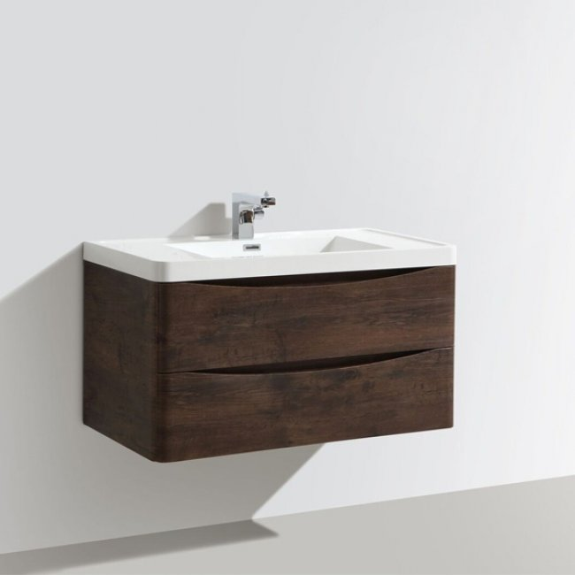 Cali Bali 2-Drawer Wall Mounted Vanity Unit with Basin - 900mm Wide - Chestnut-2